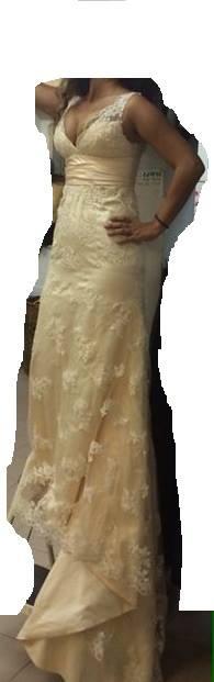 שמלת ערב במצב מעולה עם שובל – סאטן ותחרה