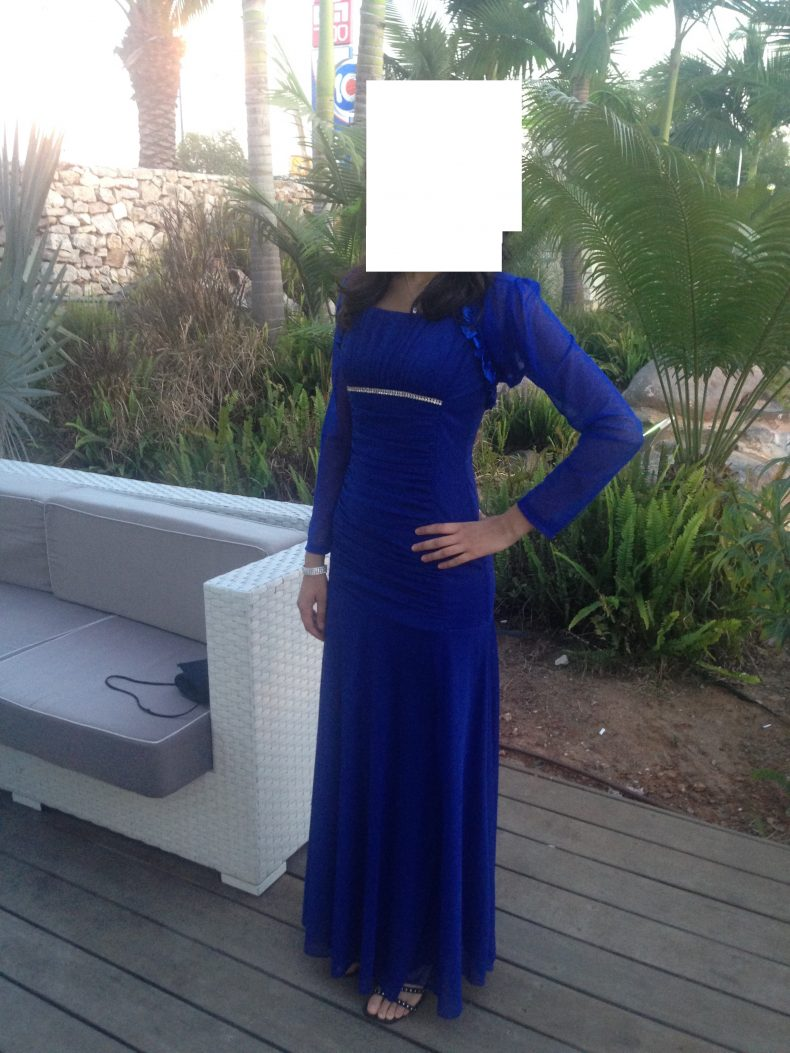 שמלת ערב כחולה ומרשימה+עליון תואם