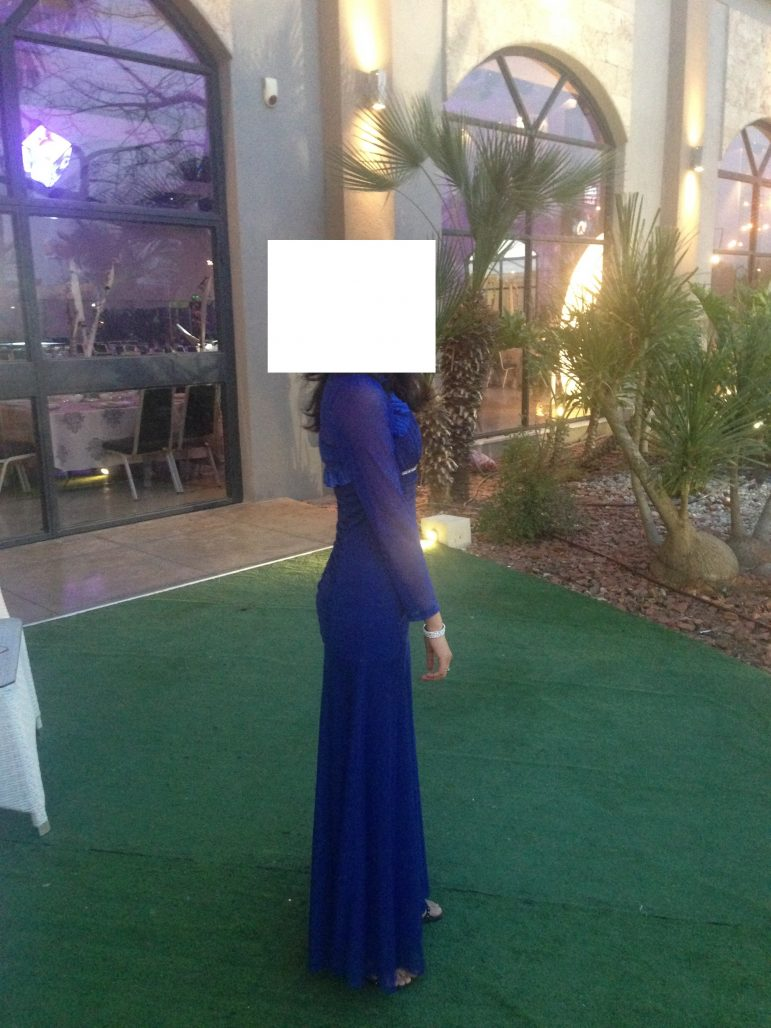תמונות נוספות של שמלת ערב כחולה ומרשימה+עליון תואם
