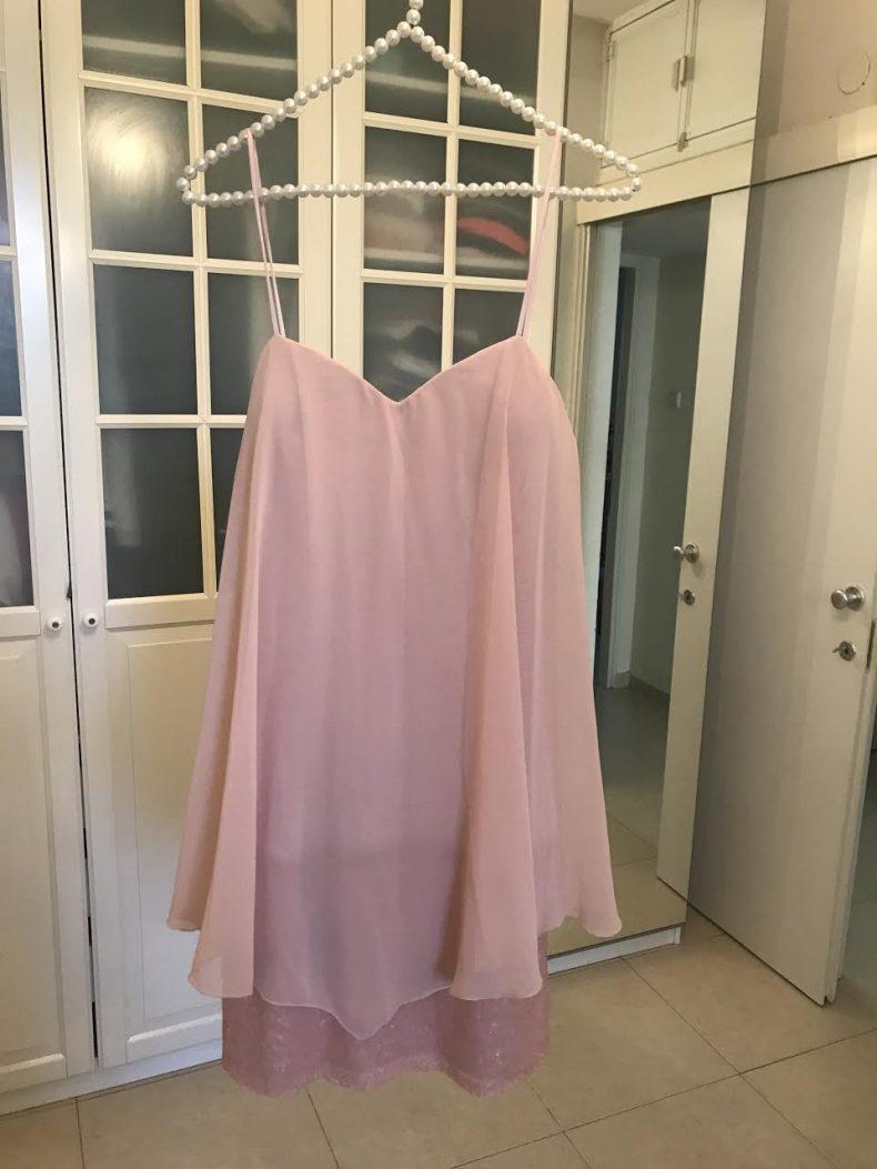 שמלת ערב ורודה חצאית
