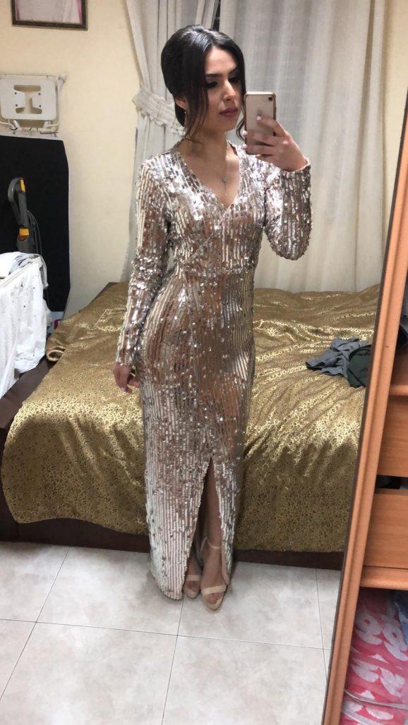 תמונות נוספות של שמלת פייטים כסופה