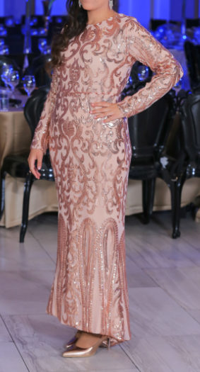 שמלת ערב רוז גולד